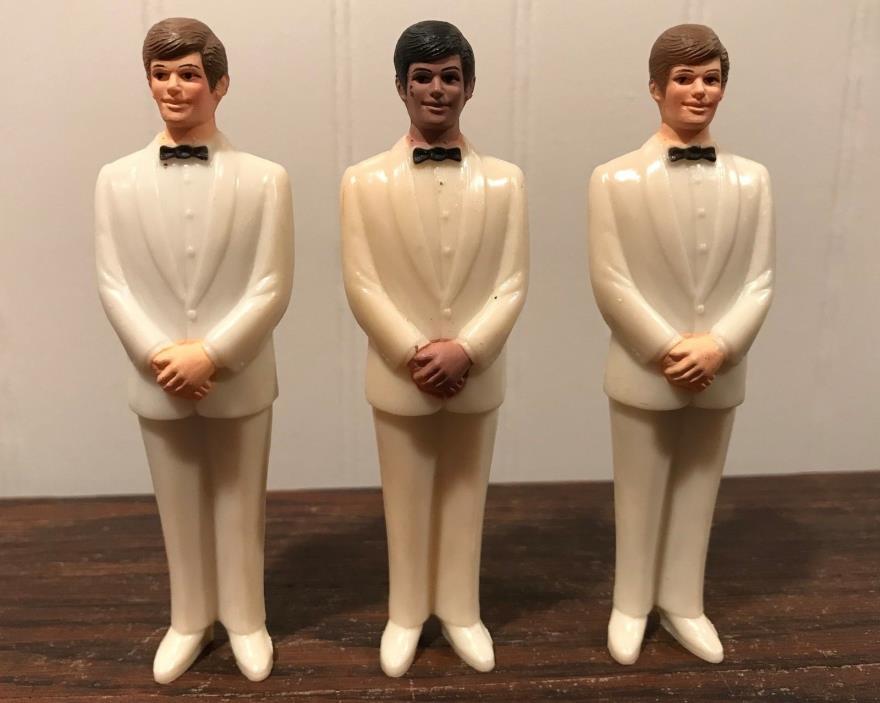 3 Vintage Wedding Groomsmen Groom Off White Tux Cake Topper Decorations Lot# 39