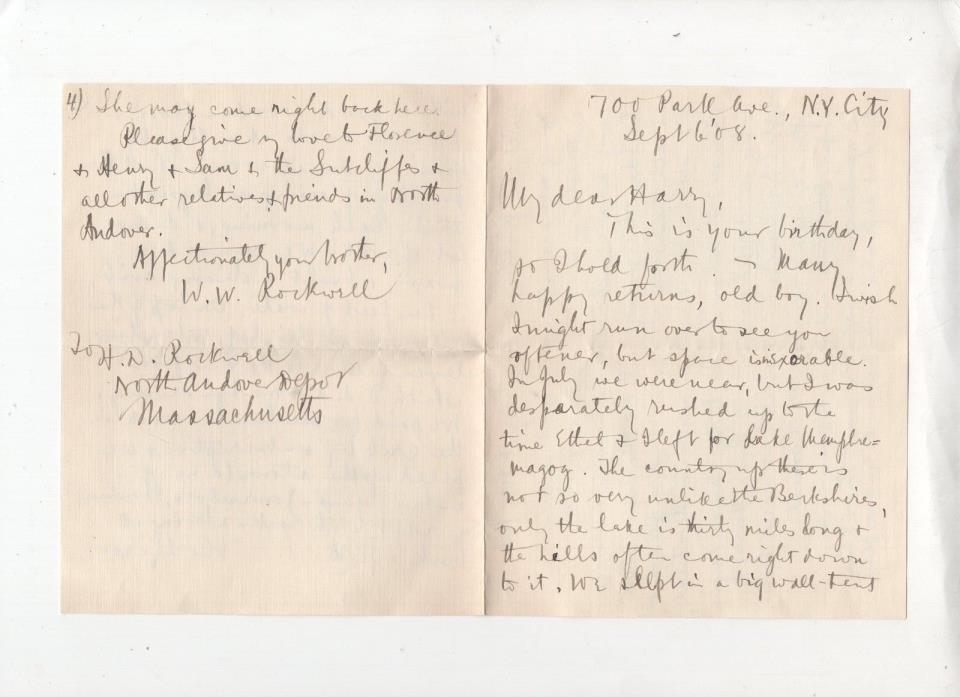 WILLIAM WALKER ROCKWELL,TO HARRY D ROCKWELL,LIVELY 3 1/2 PAGE LETTER,NY CITY