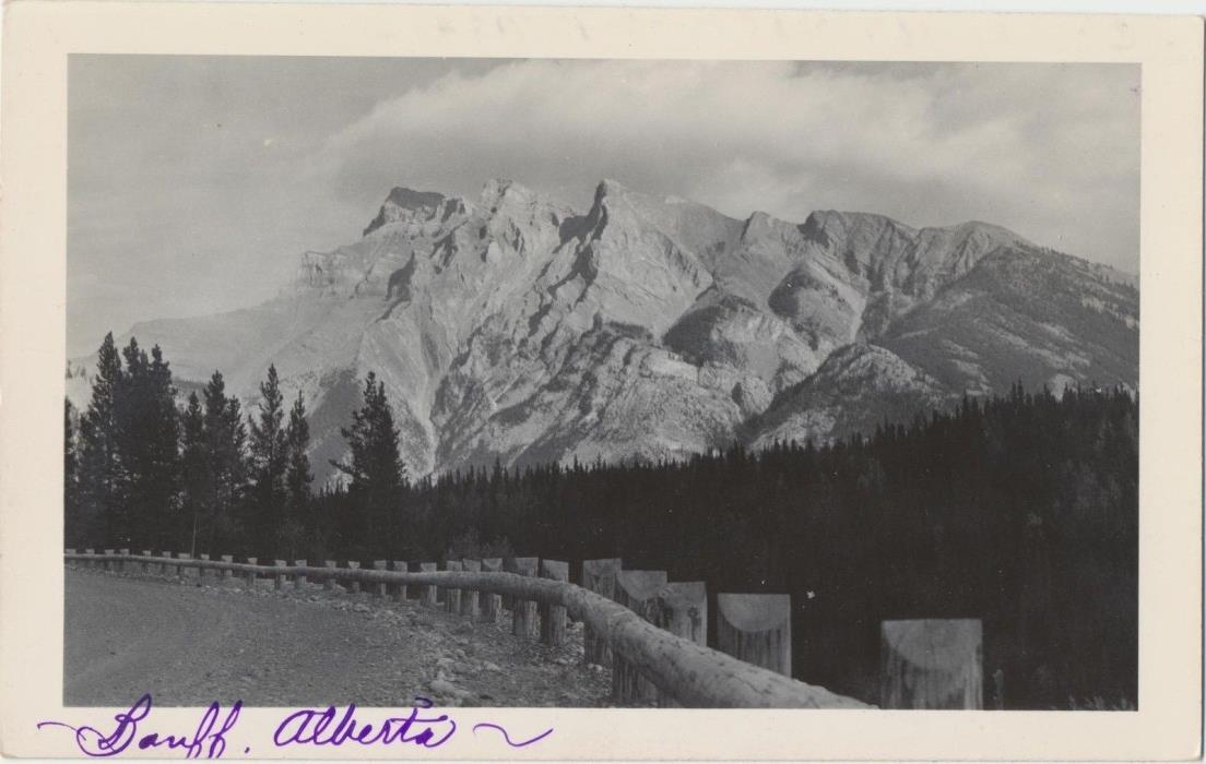 c1940 Alberta, Canada Banff Ntl. Park Majestic Mtn View RPPC Real Photo Postcard