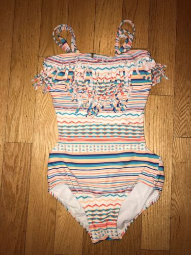 Toddler Roxy Teenie Wahine Striped One Piece Swimsuit With Fringe!!