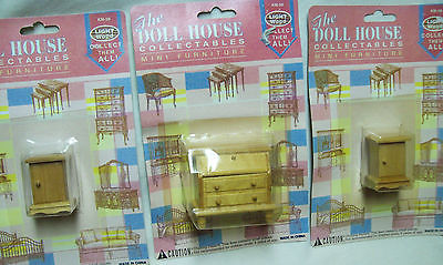Dollhouse Miniature Drop Front Desk & 2 End Tables--Lt. Color Wood