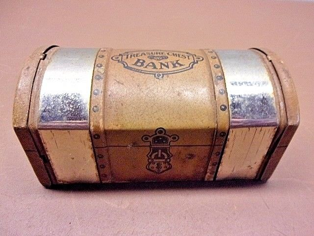 Vintage Treasure Chest Tin Bank Unbranded No Key Cute Old Tin Collectible!