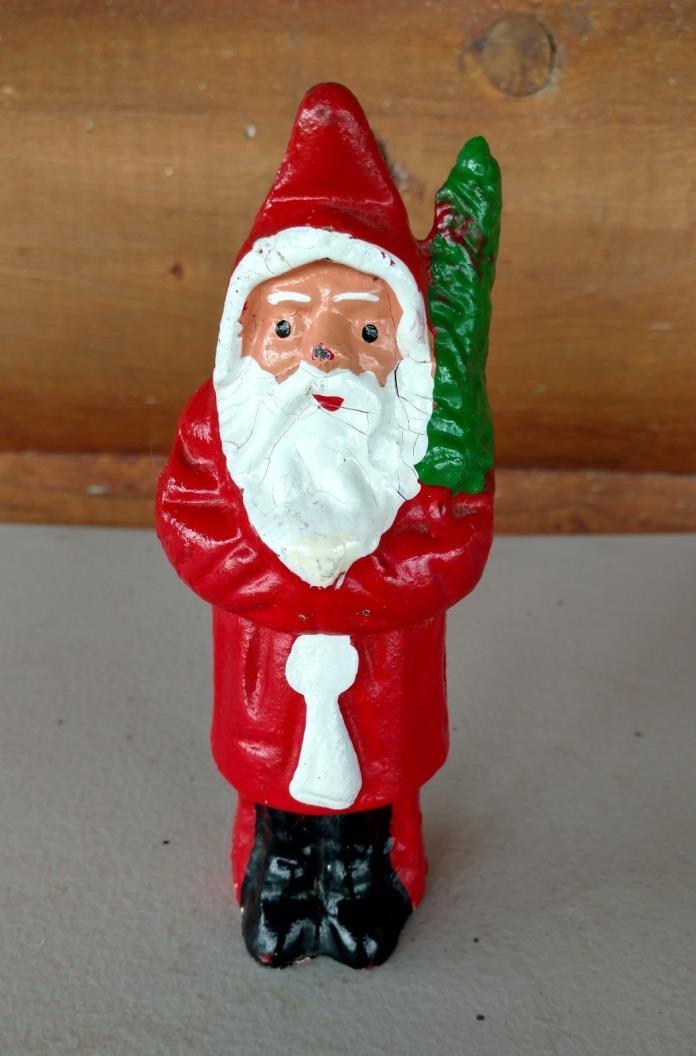 Vintage Cast Iron Santa Claus Bank with Christmas Tree Original Paint 6