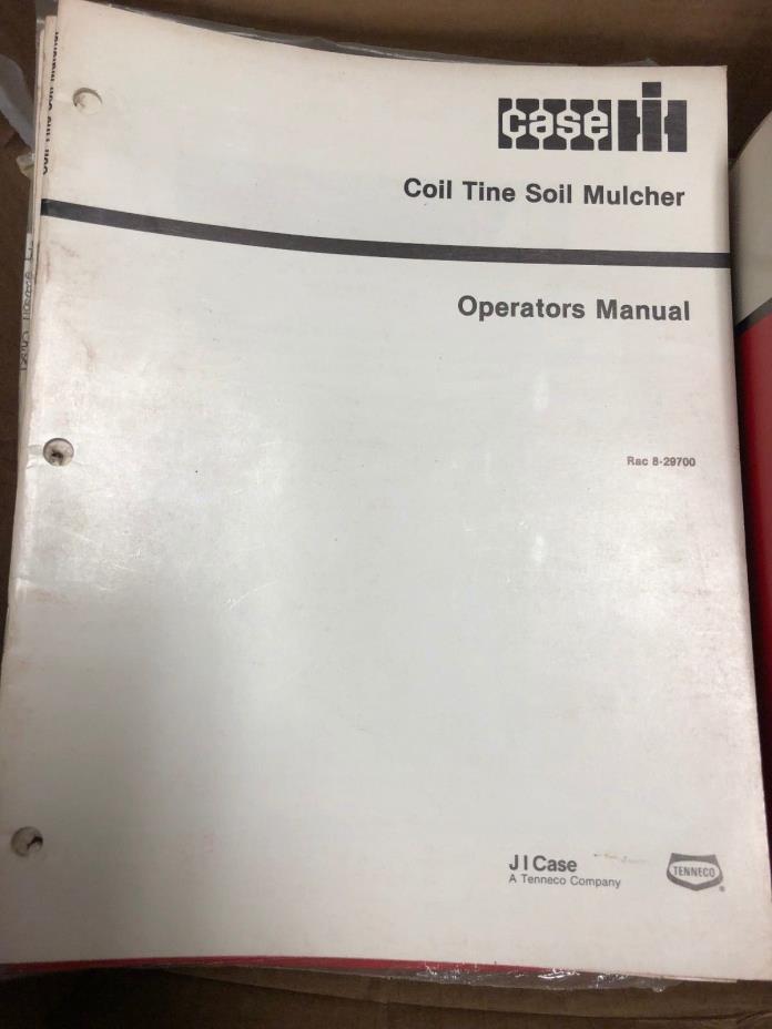 Case IH Coil Tine Soil Mulcher operators manual