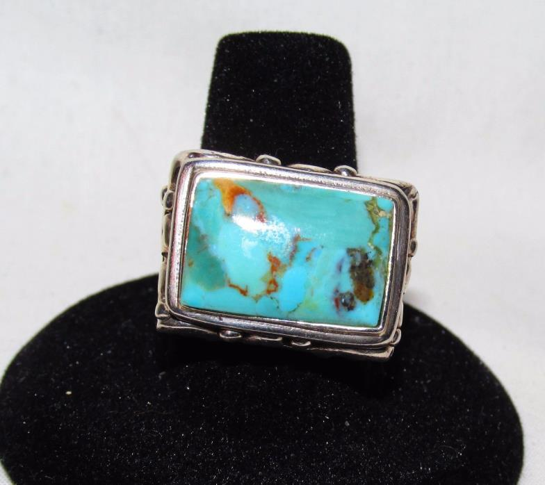 Estate 925 Sterling Big Bold Chnky Turquoise Blue Scroll Artisn Ethnic Ring 8