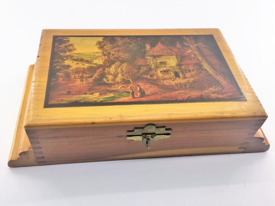Wooden Jewelry/Trinket Box  Lacquered LithographTop Step Sides Lock & Key Vtg.