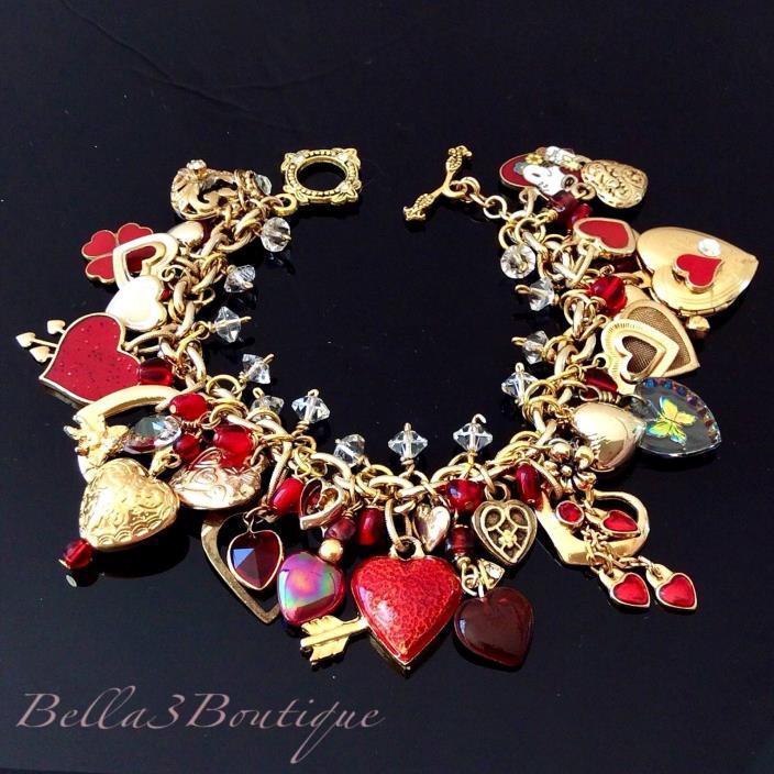 Red Heart Charm Bracelet Loaded Gold Vintage Repurposed Love Valentines Gift