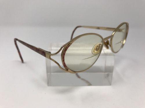 Vintage Sabatini Eyeglasses 129 51–18 Gold Mushroom Oval Italy Frames &70