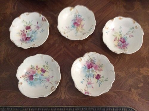 Antique German Porcelain Ice Cream Bowls Set of 5 from Bonn, Germany