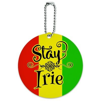 Stay Irie Rastafarian Flag Round Luggage ID Tag Card Suitcase Carry-On