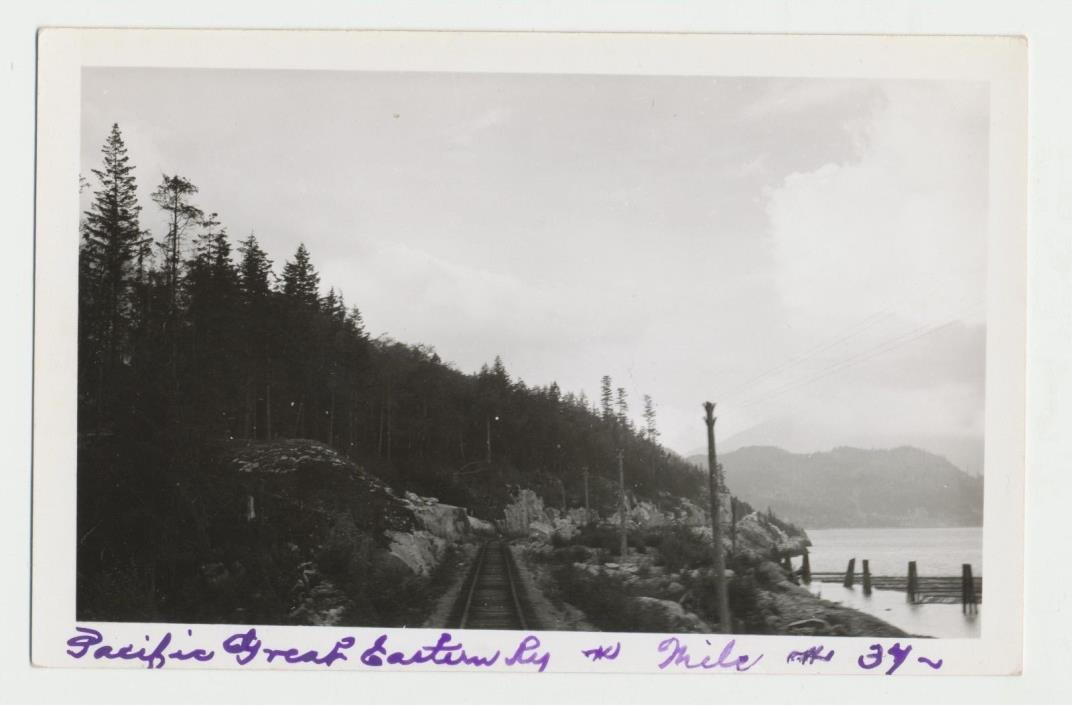 c1950 Pacific Great Eastern Railway British Columbia CA Mile *37 RPPC Real Photo