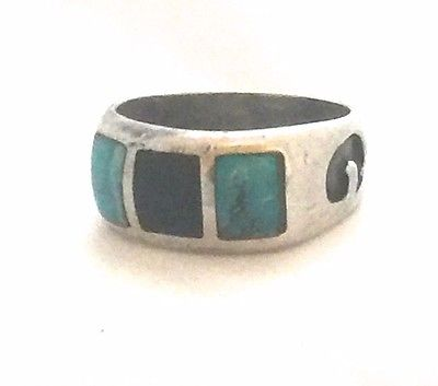 Vintage Sterling Silver Southwest Turquoise Onyx Band Ring Size 9  6g Tribal
