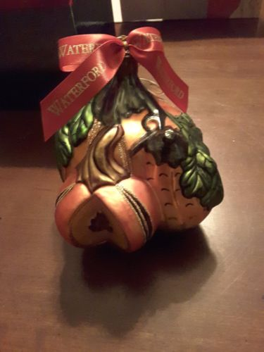 Exquisite WATERFORD Art Glass PUMPKIN Ornament