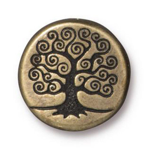 TierraCast - (2) Antiqued Brass Plated Puffed Beads - Tree of Life 15mm