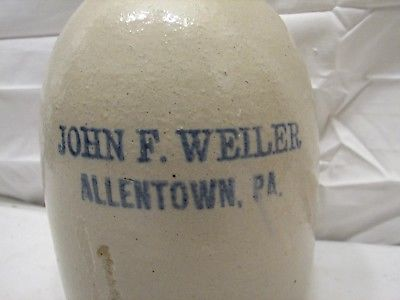 Antique Stoneware Jug Blue Signed John F.Weiler Allentown, PA Whiskey 1/2 Gal