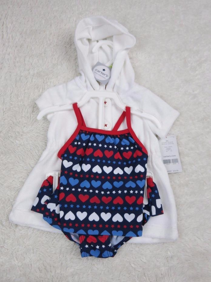 CARTER'S Little Collections 3 Piece Swimsuit Patriotic Hearts 3 Months NWT U31