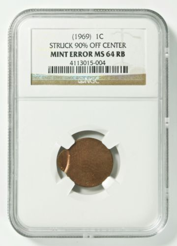 (1969) Lincoln Cent 1¢ Struck 90% Off Center Mint Error - NGC MS 64 RB