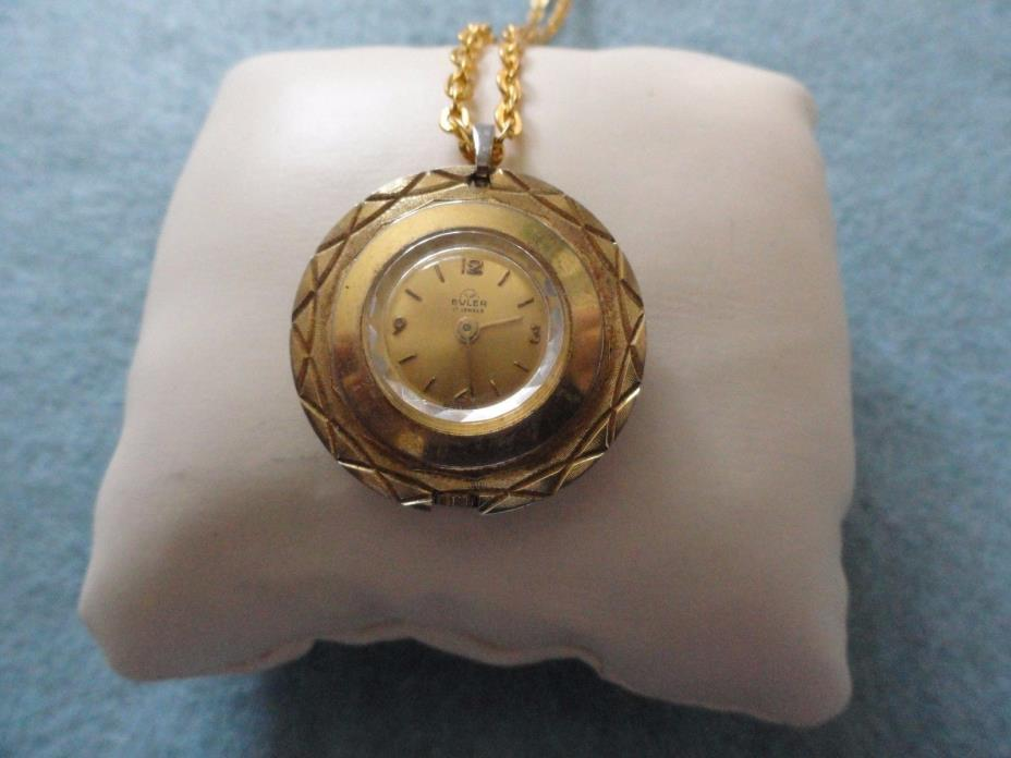 Vintage Swiss Made Wind Up 17 Jewels Buler Necklace Pendant Watch - Problem