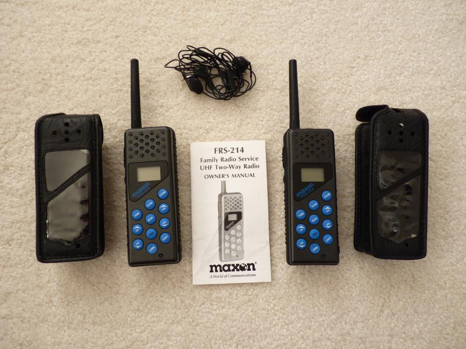 2 Excellent Maxon FRS-214 Deluxe 2-Way Family Radios Complete