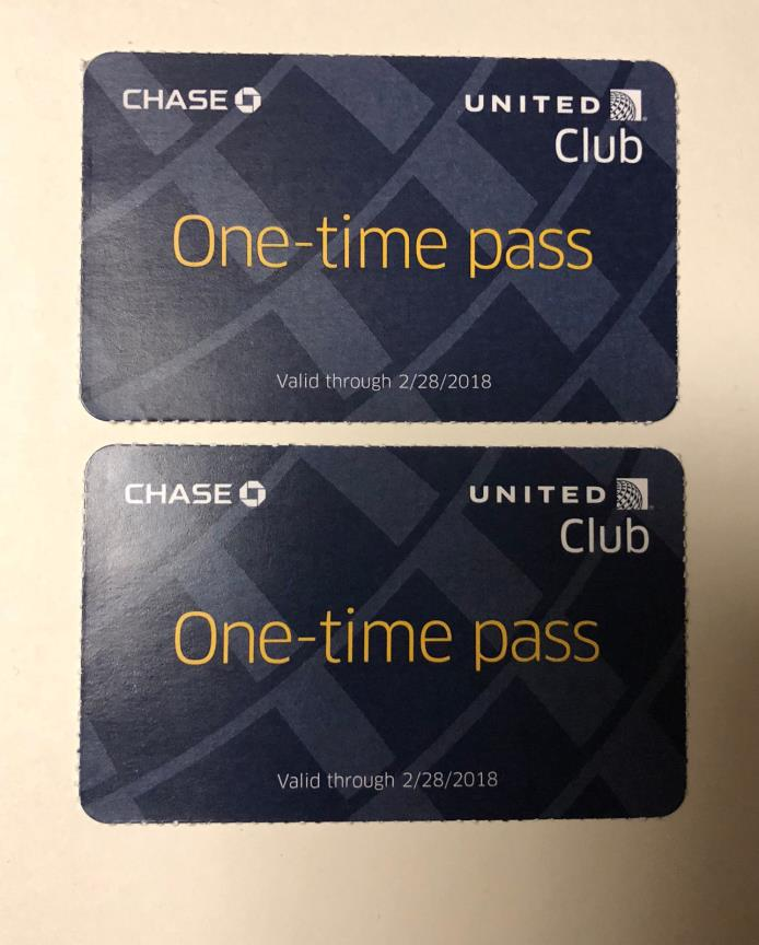 Two (2) United Club One-Time Passes - Valid Through 02/28/2018