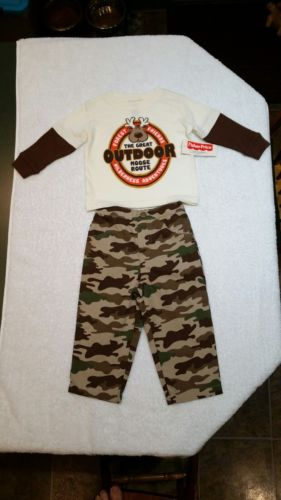 FISHER PRICE Camo Pants & Long Sleeve Tee Shirt Cream w/ Brown Sleeves NEW 12M