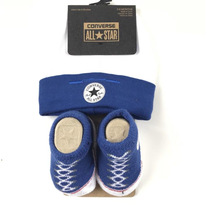 Converse Infant Baby Hat and Booties Socks Set Sz 0-6 Mo Navy Blue White Cotton