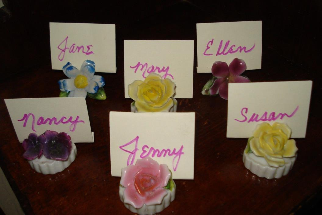 VTG Table Place Card Name Tag Holders Pretty ROSES AND Florals~