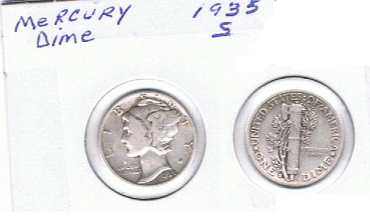 Mercury Dime 1935 S  Circulated See Scan.