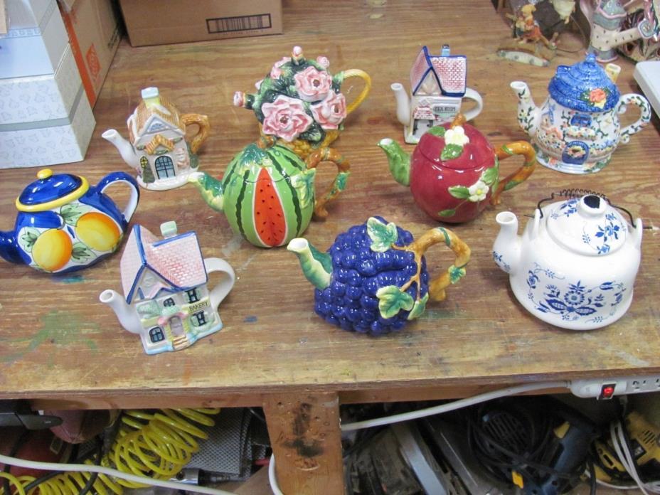 Lot of 10 Tea Pots Teapots Decorative Ceramic