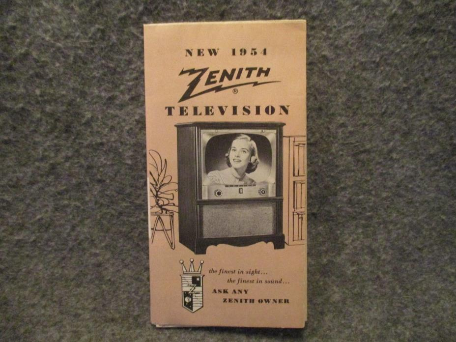 1954 Zenith Television Vintage Advertising Brochure Folded Booklet T-3641-254500
