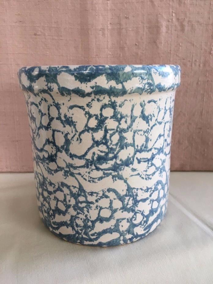 Robinson Ransbottom Roseville OH Blue Spongeware Stoneware Crock Utensil Pot