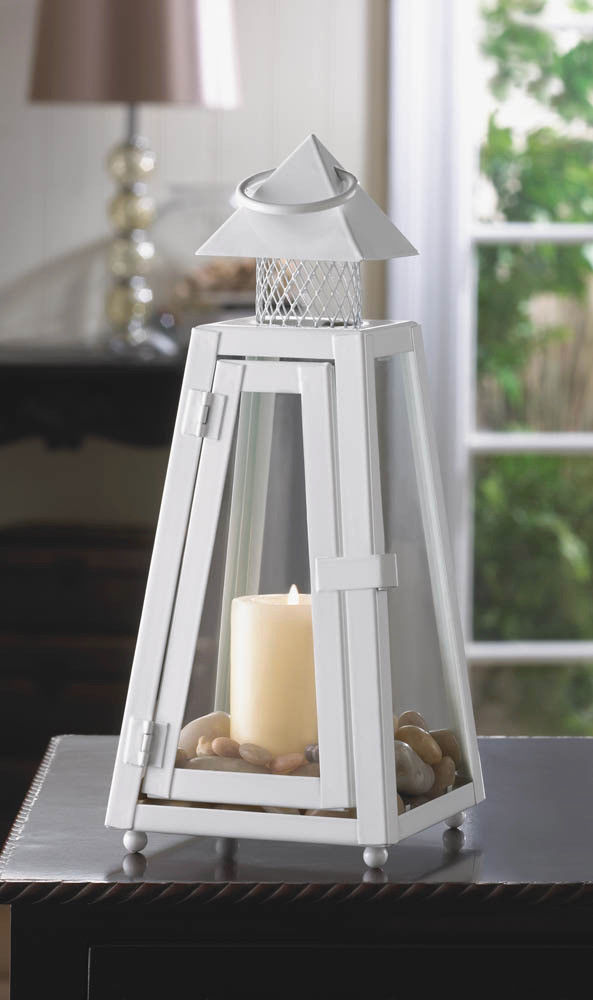 Lot of 4 Contemporary White Summit Candle Lanterns Pyramid Roof Centerpieces