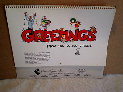 1983 THE FAMILY CIRCUS CALENDAR Bil Keane,insurance,wisconsin,billy,dolly,jeffy