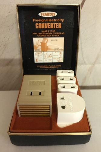 FRANZUS Extra Power Travel Converter Kit Model CA-1600 220V-110V Vintage