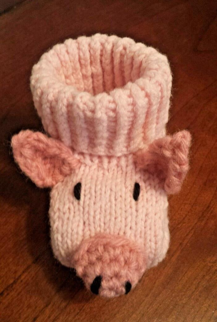 Piglet baby booties socks pink size 6-9 months baby shower Christmas gift