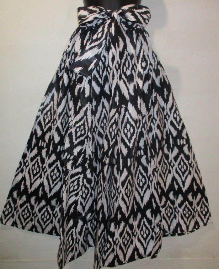 Pant Fits L XL 1XL 2X Africa Wax Print Black White Wide Leg & Head Wrap NWT P061