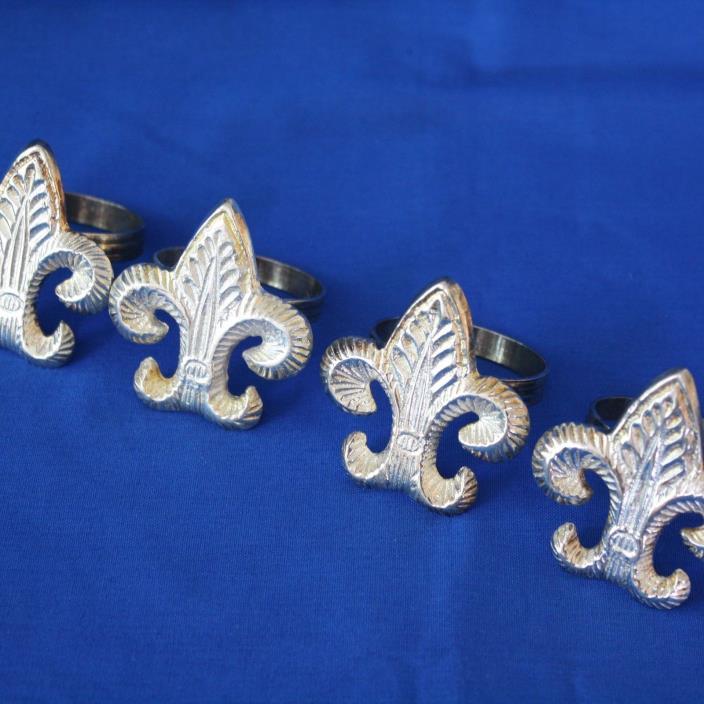 Fleur de Lis Napkin Rings Ornate Pewter Finish SET OF 4