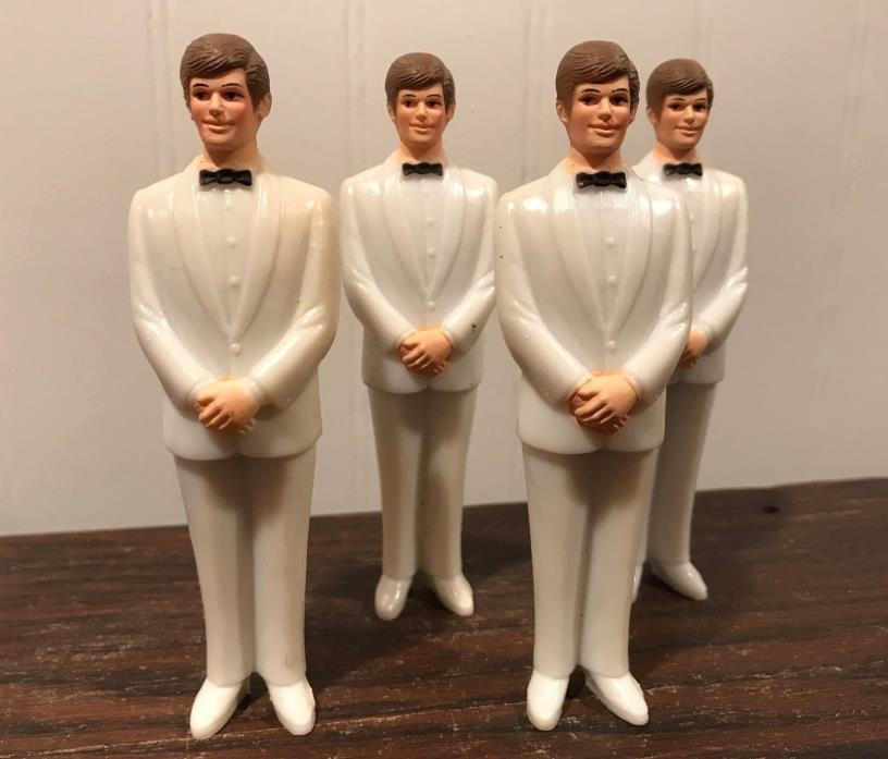 4 Vintage Wedding Groomsmen Groom Off White Tux Cake Topper Decorations Lot# 44