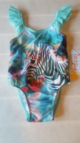 Cat & Jack Girls Zebra Picture Green Swimsuit 9m to 5t NEW WITH TAGS