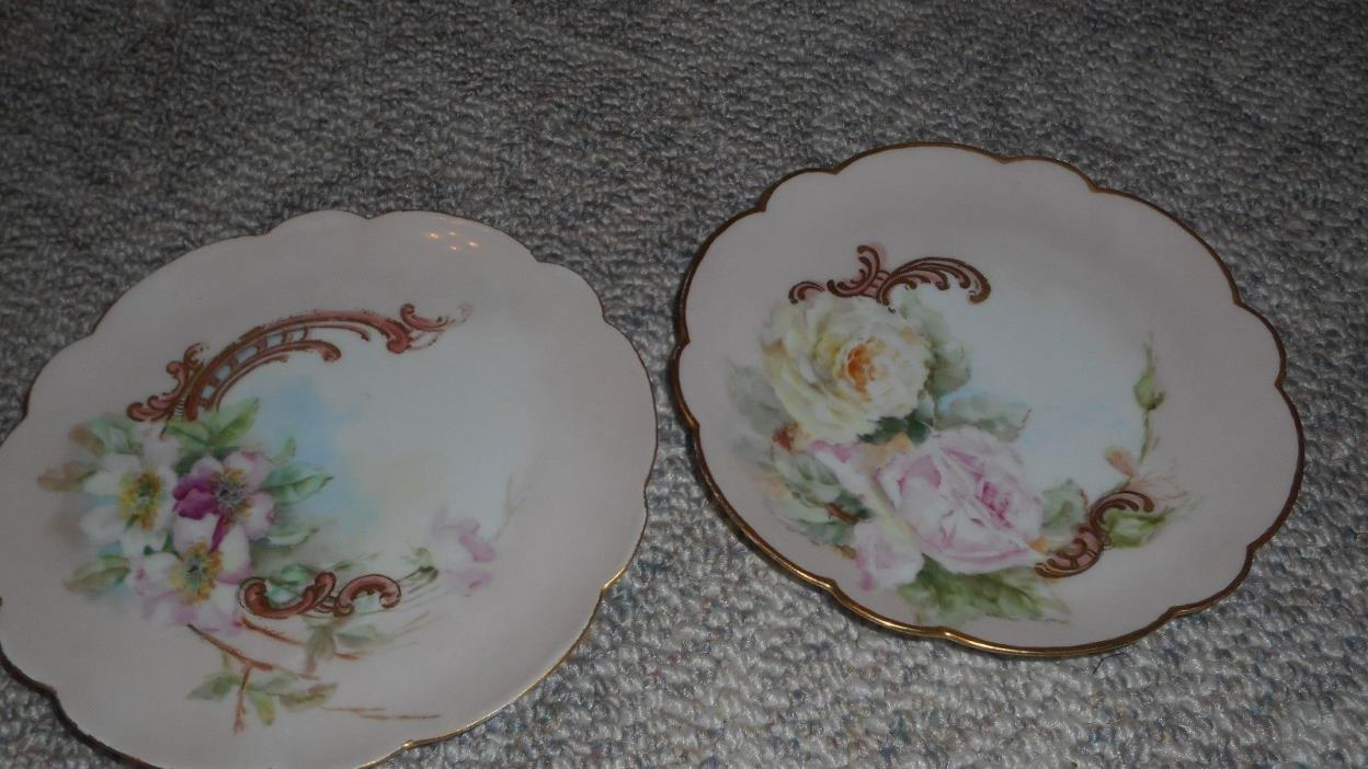 Decorative  Set of Hand Painted Flower Dishes 8.5