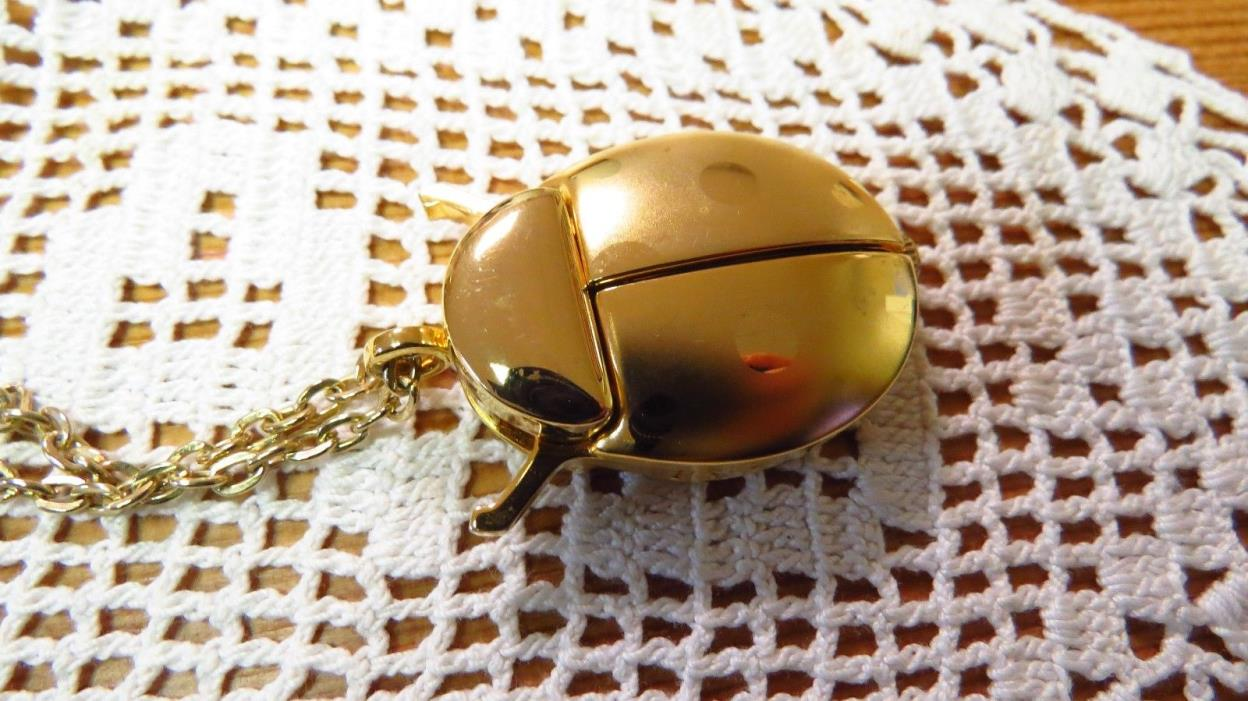 Vintage Sarah Coventry Ladybug Necklace Watch In Gold Tone New Battery Works
