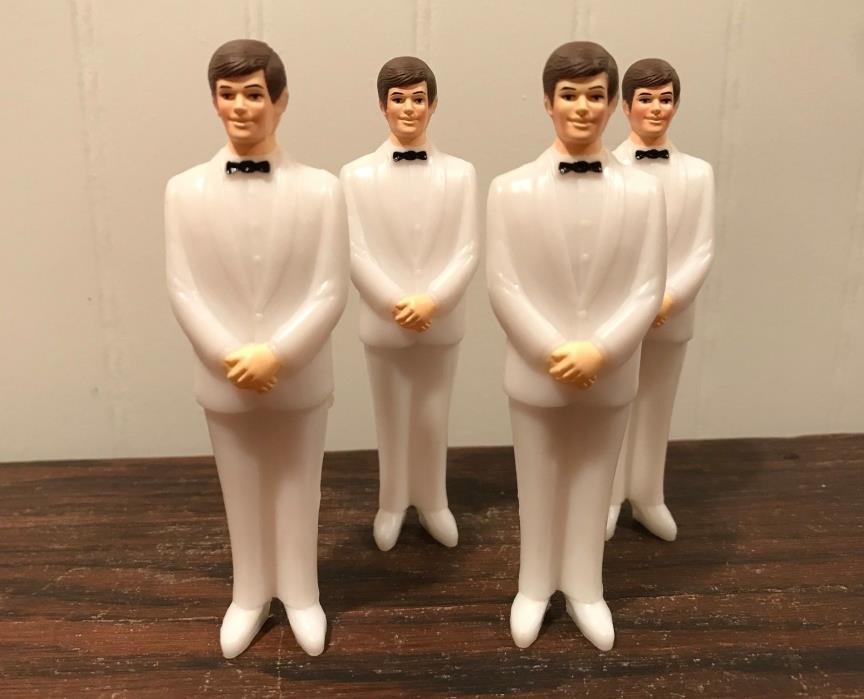 4 Vintage Wedding Groomsmen Groom White Tux Cake Topper Decorations Lot# 42