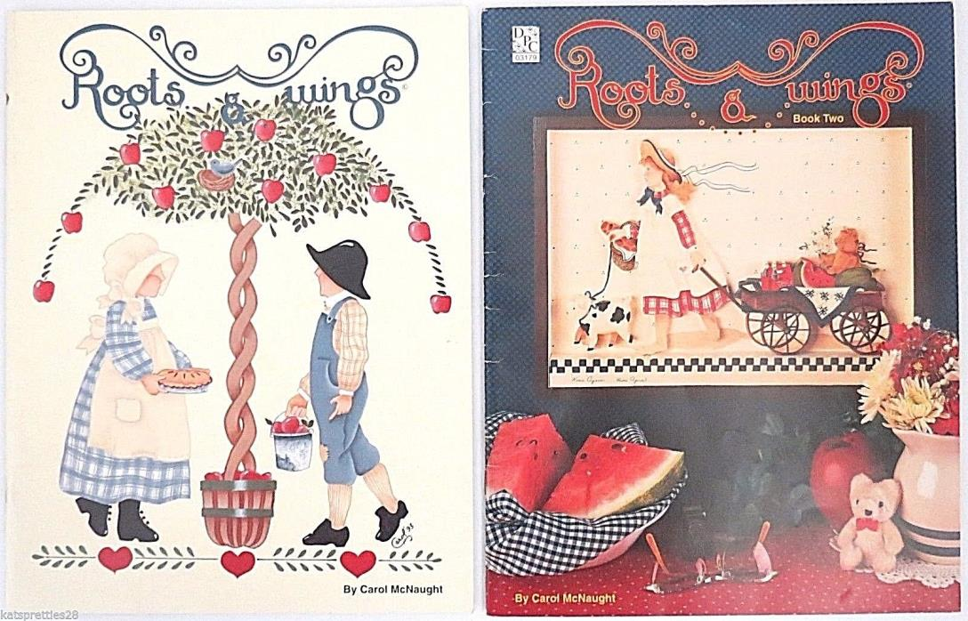 Lot of 2 Roots & Wings Book 1 & 2 Carol McNaught Tole Painting Bunnies Bears