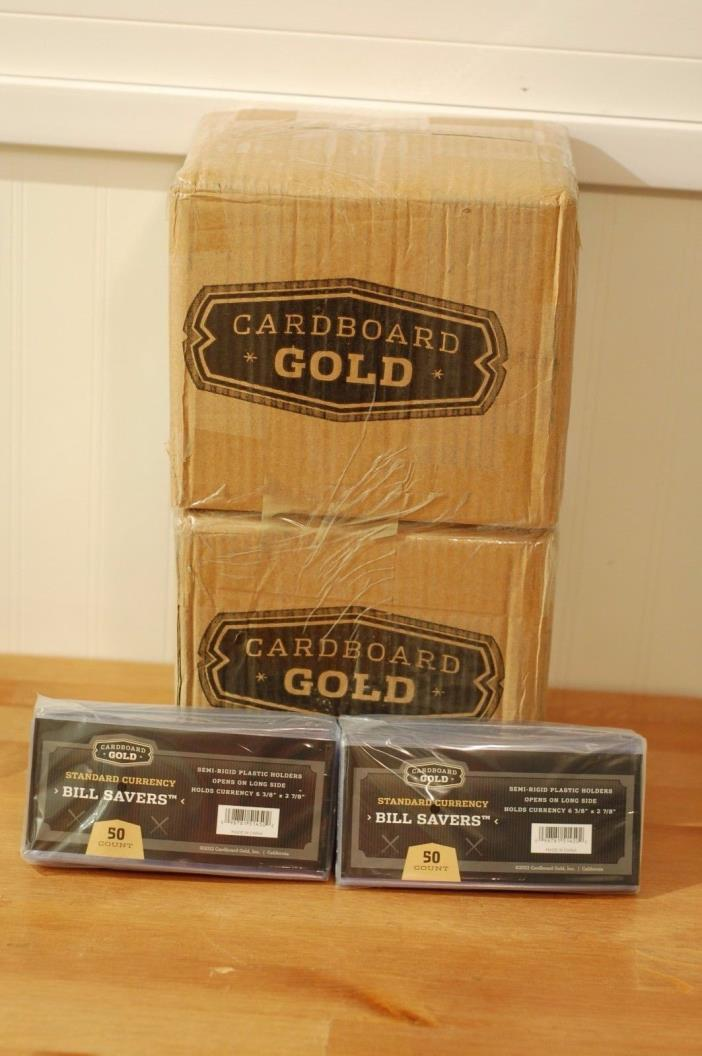 100 CARDBOARD GOLD STANDARD SEMI-RIGID PLASTIC CURRENCY HOLDERS. Lot# ZXX