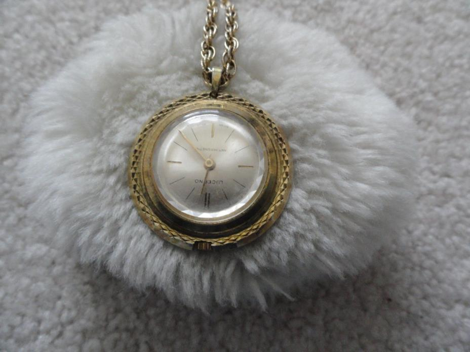 Vintage Swiss Made Lucerno Wind Up Necklace Pendant Watch