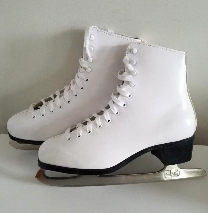 JACKSON GLACIER 160 Women's White Figure Skates W/ Blade Guards  Size 10 Mint!