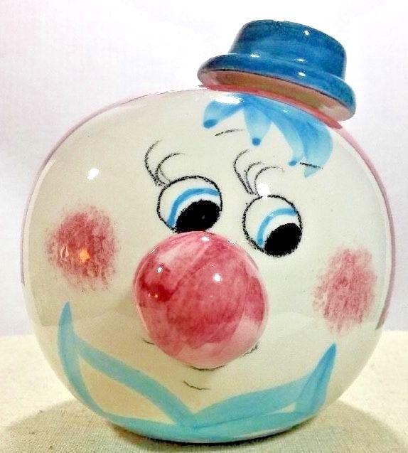 Unique Vintage Ceramic Hand Painted Head Face Coin Bank Clown w/Stopper Signed