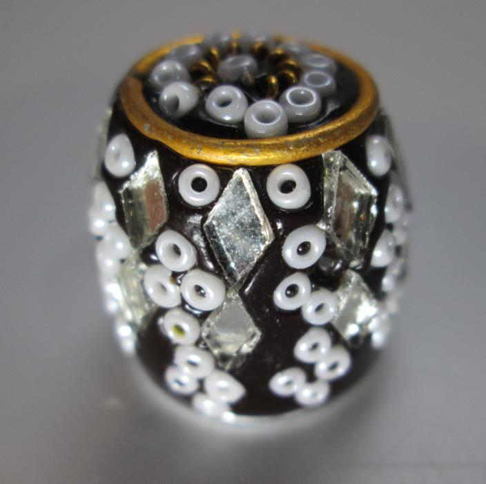 Decorated Thimble with Applied Beads and Diamond Shaped Mirrors Made in India