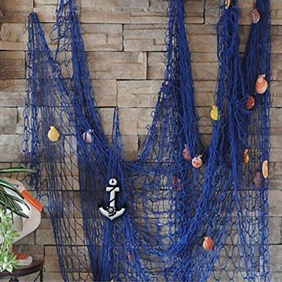 KINGSO Mediterranean Decorative Fish Net With Anchor and Shells Blue Nautical
