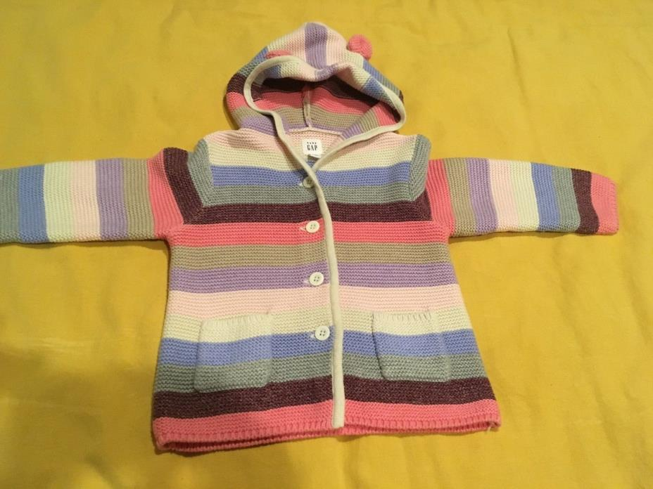 NWT Baby Gap girl sweater cotton hoodie multi color stripes size 18-24 months